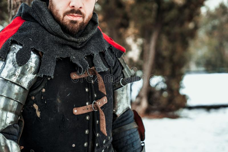 Man warrior in historical clothing stock images