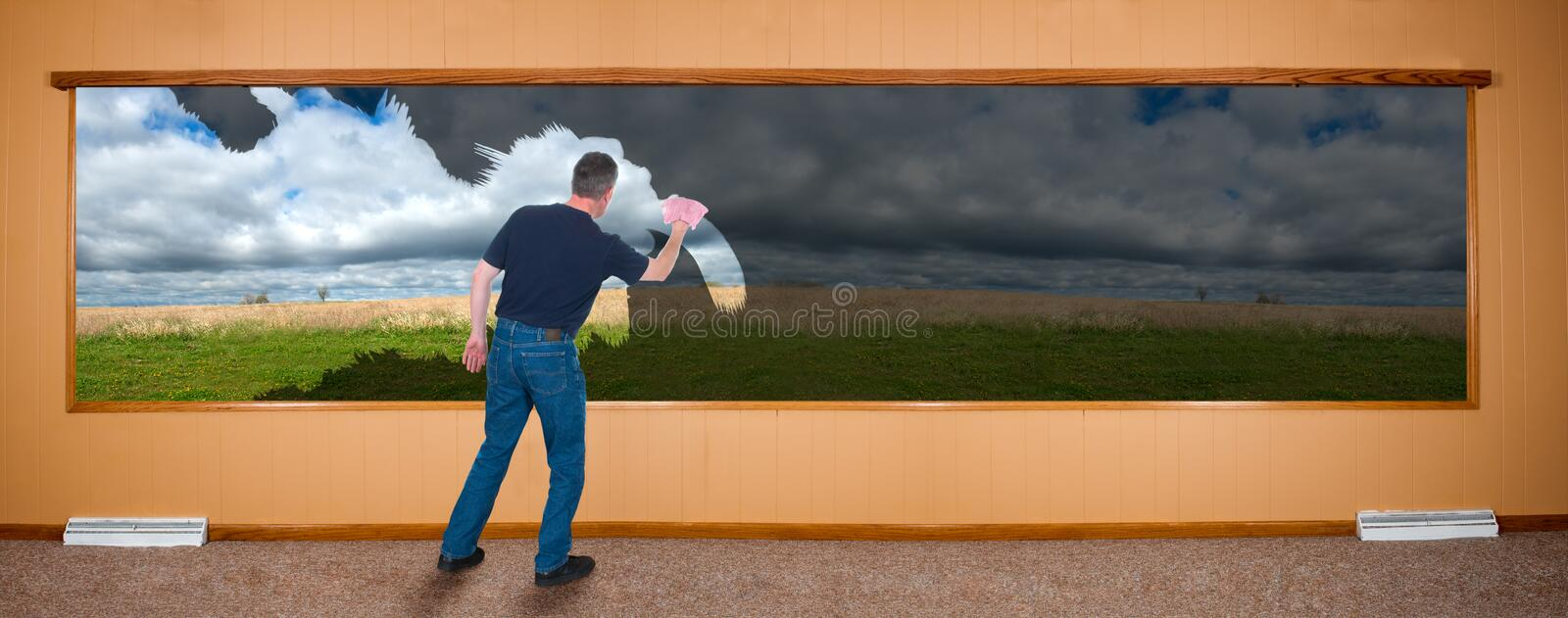 Spring Cleaning Banner, Man Washing Windows stock image