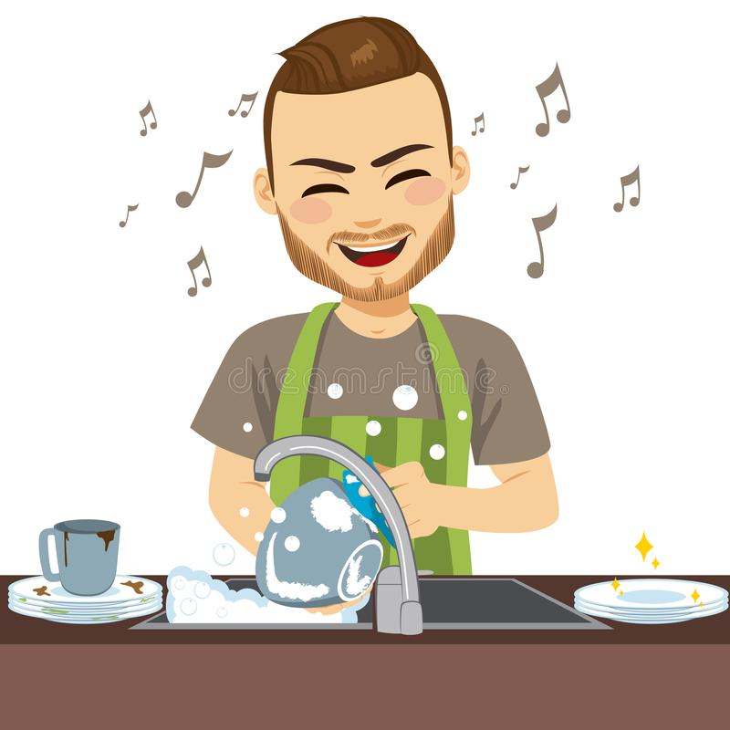Best Washing Dishes Illustrations Royalty Free Vector: Dishes Stock Illustrations