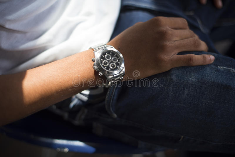 Man Watch Instrument of Time Personal Organizer Concept stock image