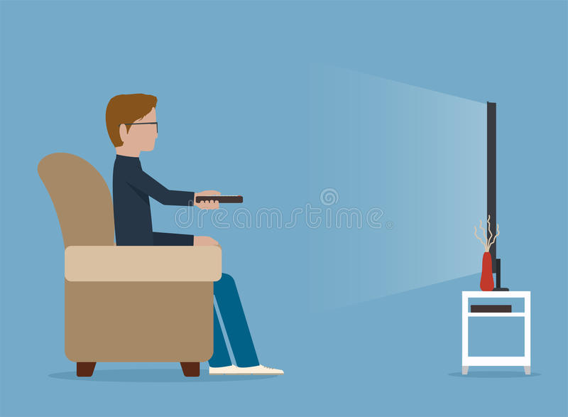 Man watches TV on sofa. Illustration royalty free illustration