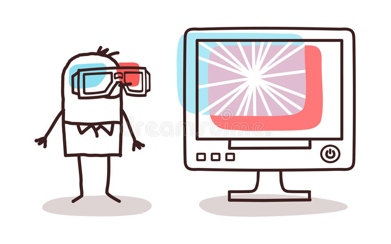 Man watching computer screen with 3D glasses royalty free illustration