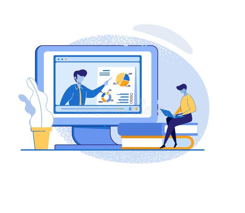 Man Watch Online Course on Laptop. Video Tutorial. vector illustration