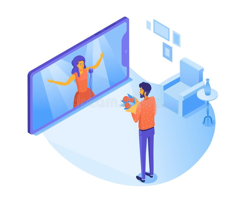 Man watching opera concert vector 3D illustration. Live performance on TV screen. Guy giving flowers to pop star. Cartoon character listening to music vector illustration