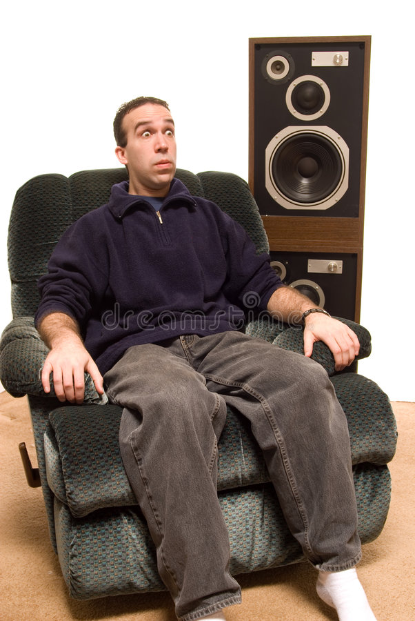 Download Man Watching Scary Movie stock image. Image of noisy, relax - 4484249