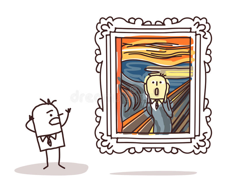 Man watching the Scream imitation vector illustration
