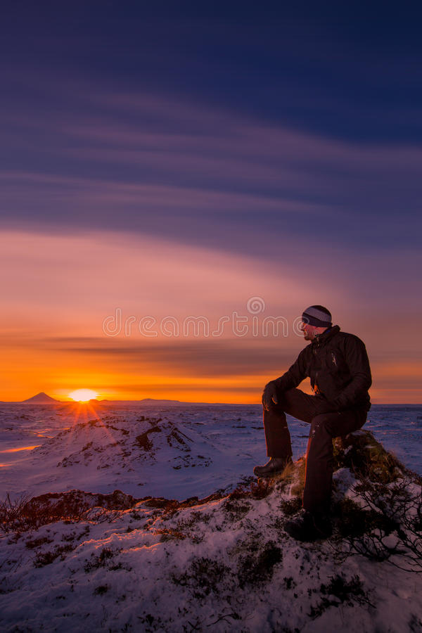Download A man watching the sunset stock photo. Image of setting - 50669102