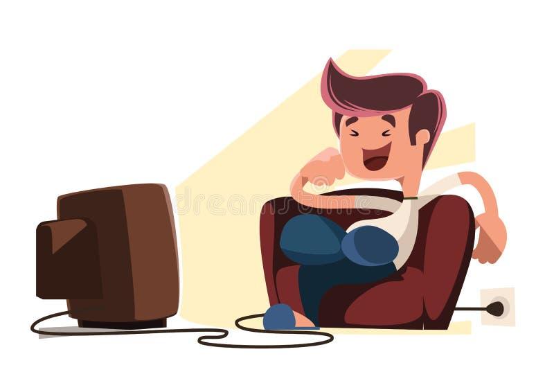 Man watching television illustration cartoon character. Enjoy vector illustration