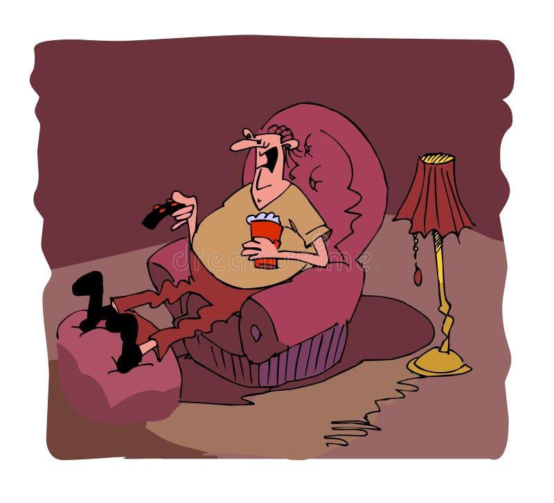 Download Man watching TV stock illustration. Illustration of lamp - 15250560