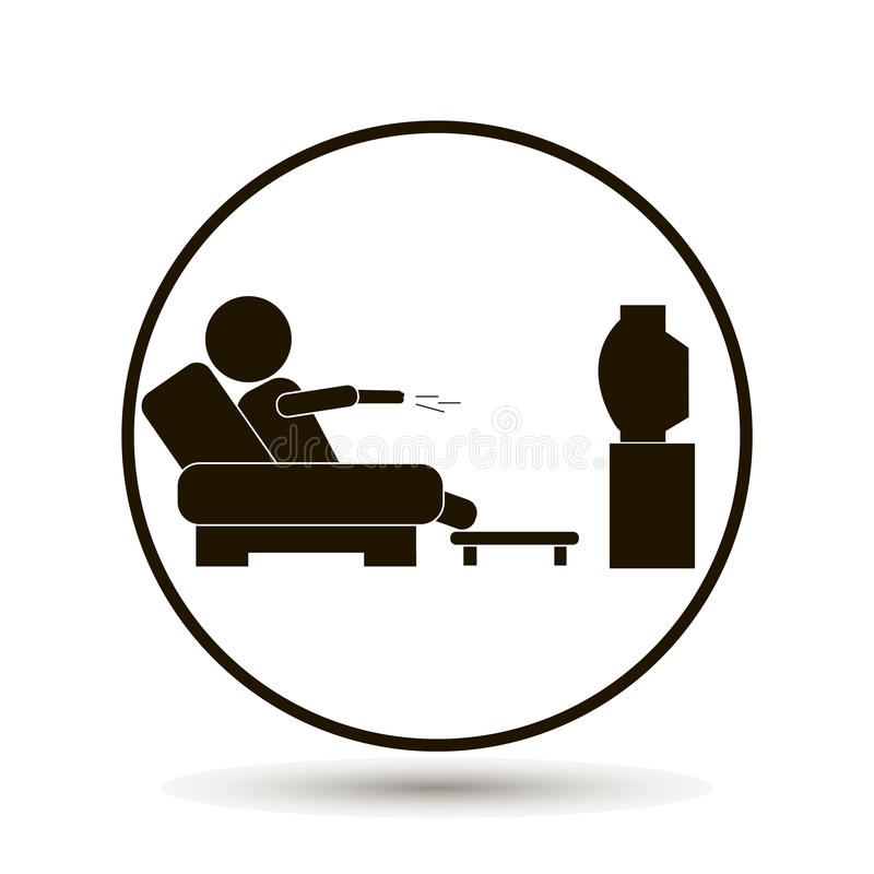 The man is watching TV. A man sits on the sofa and watches a te vector illustration