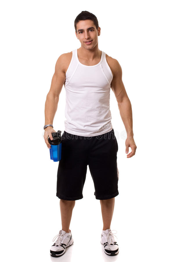 Man with Water Bottle. Athletic man with water bottle. Studio shot over white stock photography