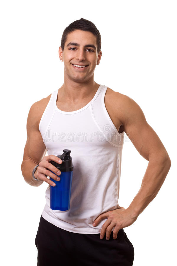 Man with Water Bottle. Athletic man with water bottle. Studio shot over white stock image