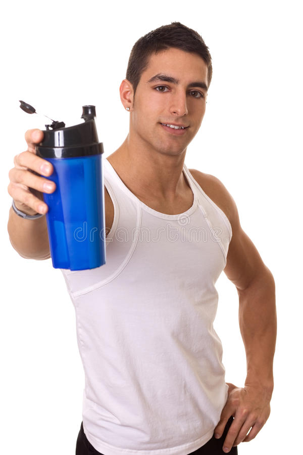 Man with Water Bottle. Athletic man with water bottle. Studio shot over white royalty free stock images