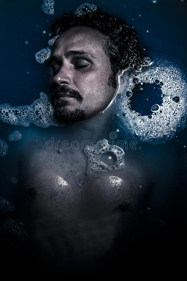 Man on water, nude,  melancholy and suicide, sadness and depress