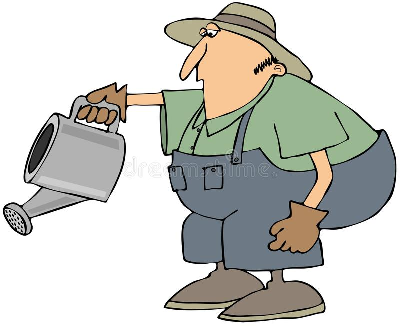 Man with a watering can royalty free illustration