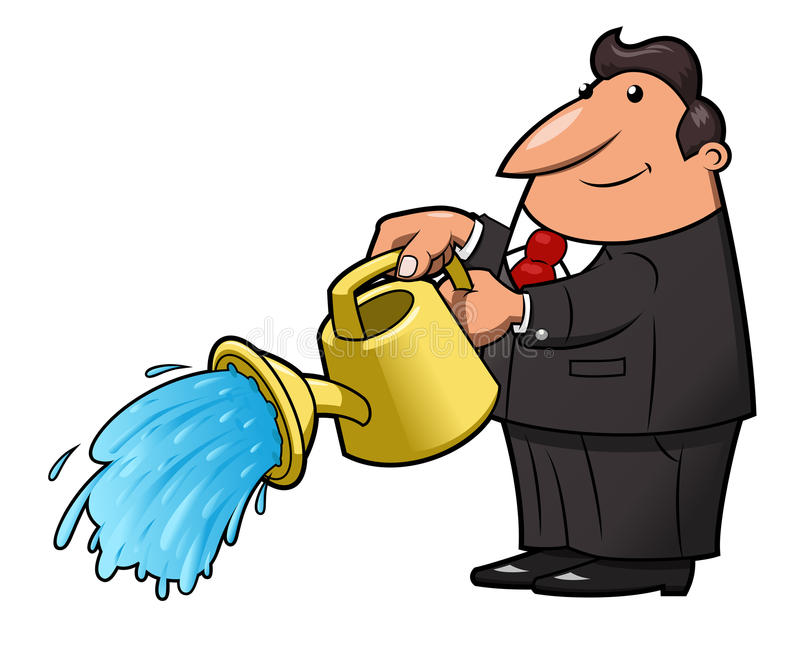 Man with watering can pouring water stock illustration