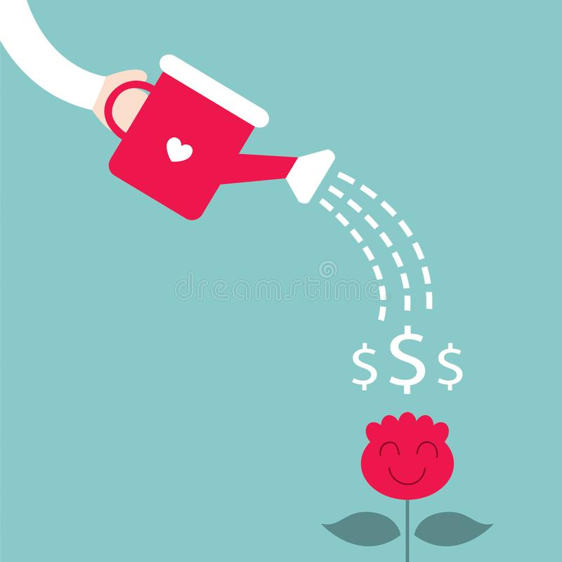 Man watering the dollar plant. Growing money tree, business success concept stock illustration