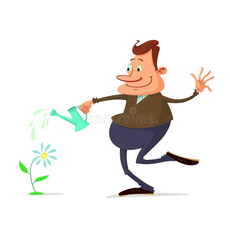 Man watering flower royalty free illustration