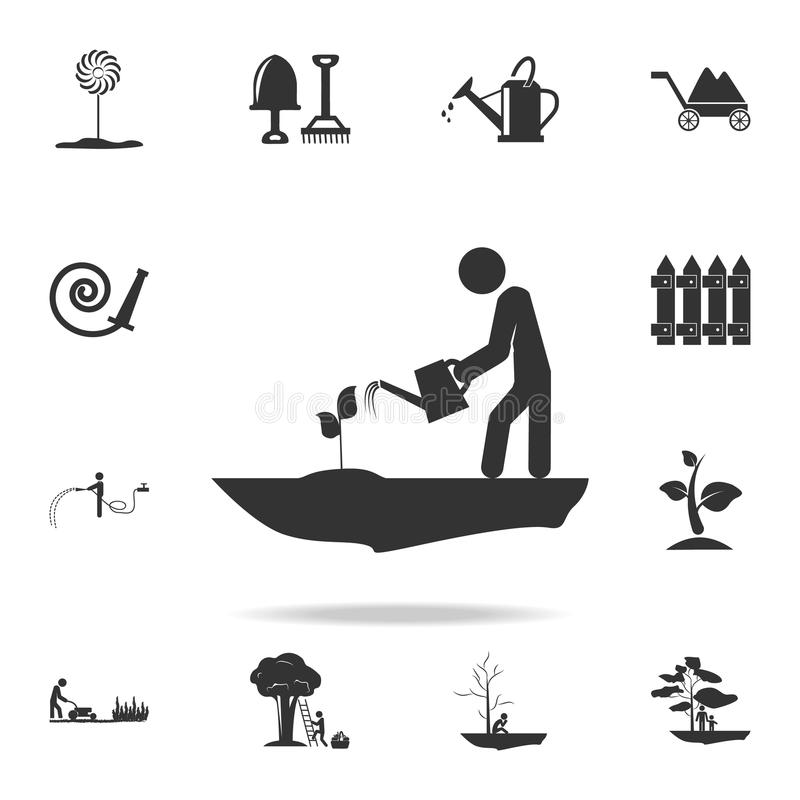 man watering a plant icon. Detailed set of garden tools and agriculture icons. Premium quality graphic design. One of the collecti vector illustration
