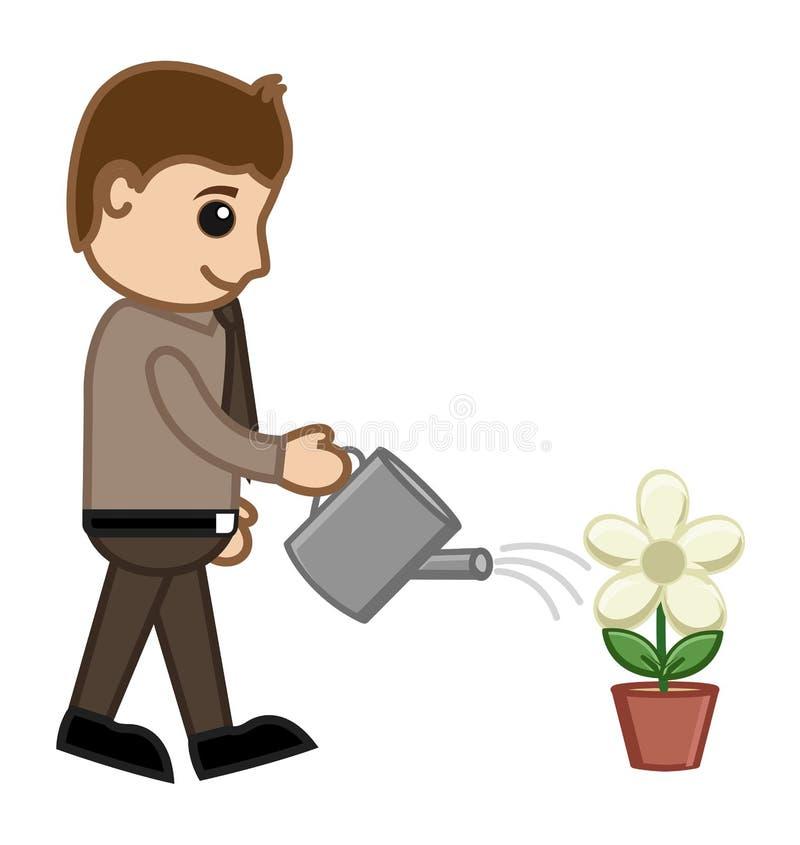 Man Watering A Plant - Vector Concept Stock Photos