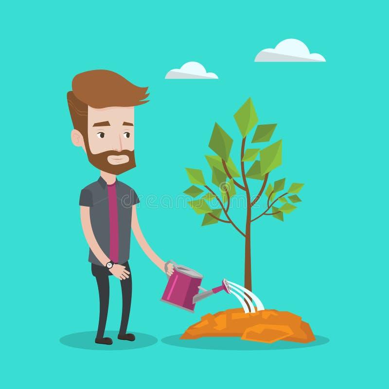 Man watering tree vector illustration. royalty free illustration