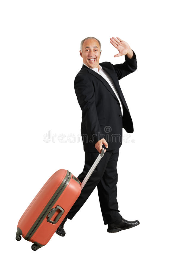 Man waving hand and smiling. Happy businessman waving hand and smiling. isolated on white background royalty free stock photos
