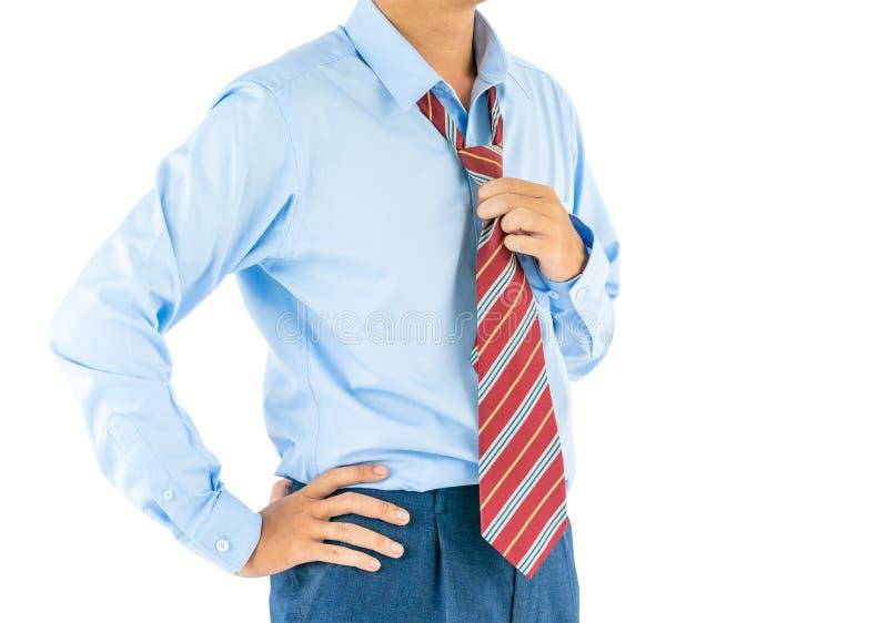 Man wear long sleeve shirt standing with akimbo studio shot isolated on white stock photo