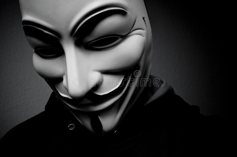 Man Wearing Anonymous Mask . This Mask Is A Well-known ...