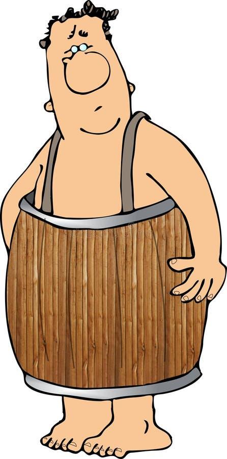 Man wearing a barrel vector illustration