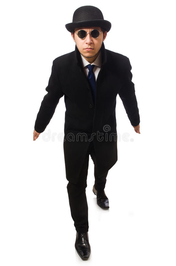 Man wearing black coat stock photo