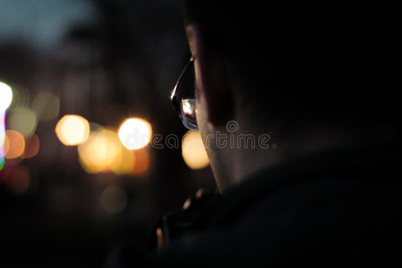 Man Wearing Black Framed Eyeglasses in Macro Photography royalty free stock image