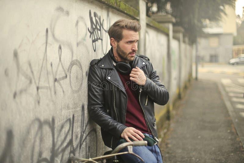 Man Wearing Black Full-zip Biker Jacket royalty free stock images