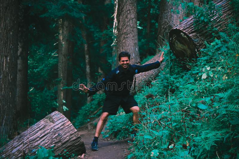 Man Wearing Black Jacket Standing on Forest stock image