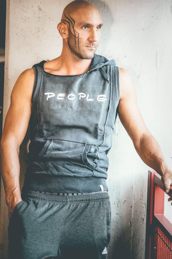 Man Wearing Black Tank Top royalty free stock image