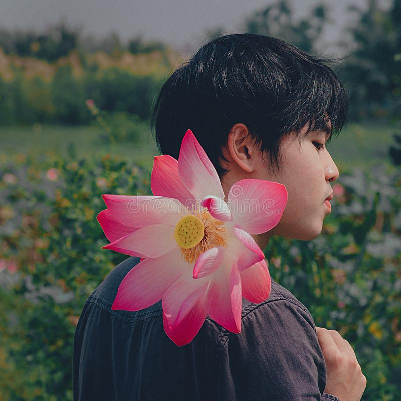 Man Wearing Black Top Holding Pink-and-white Petaled Flower royalty free stock photos
