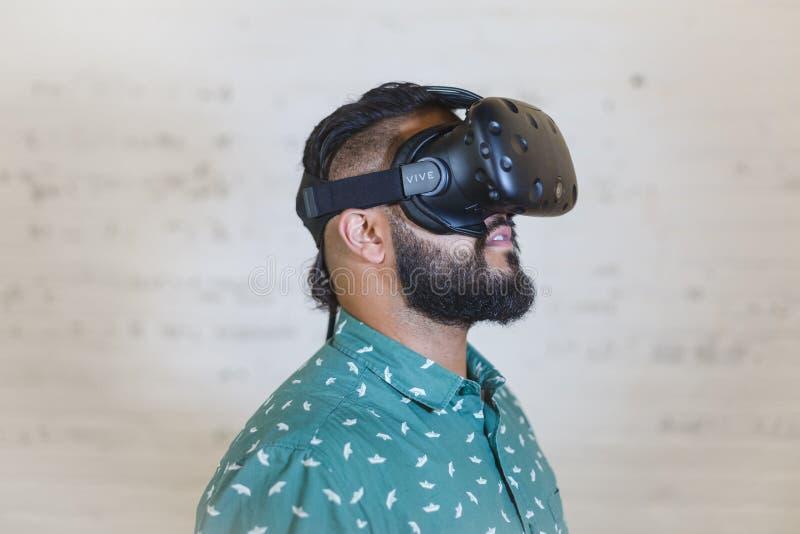 Man Wearing Black Vr Goggles royalty free stock image