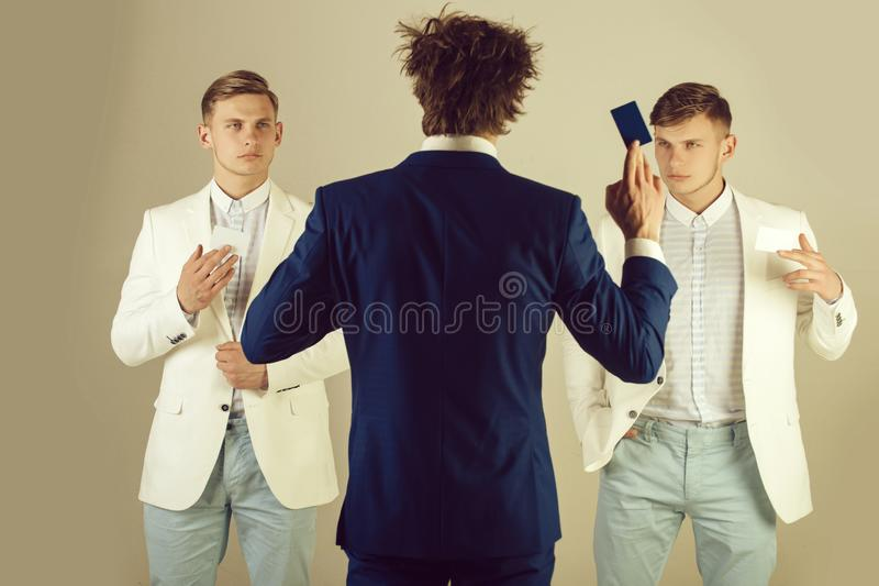 Man wearing blue jacket, back view royalty free stock photo