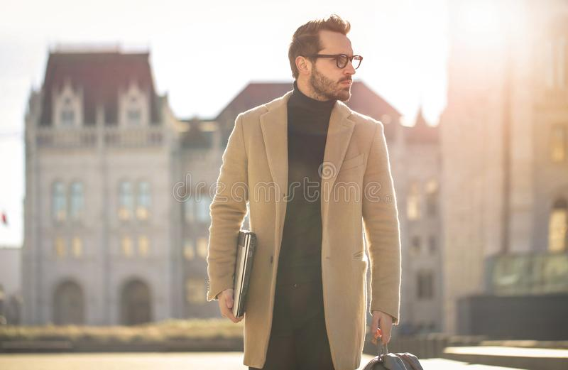 Man Wearing Brown Coat royalty free stock photography