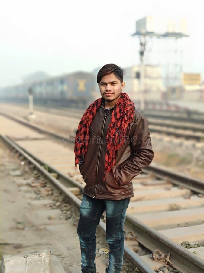 Man Wearing Brown Full-Zip Jacket royalty free stock photography