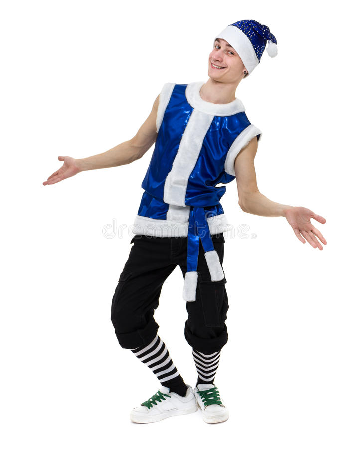 Man wearing a bunny costume posing against isolated white in full length royalty free stock image