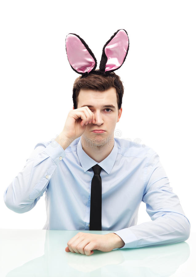 Man Wearing Bunny Ears Royalty Free Stock Images