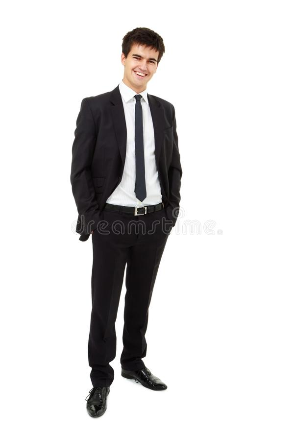 Man is wearing a business suit stock image