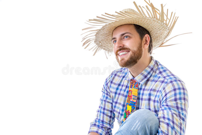 Man wearing Caipira clothes for the Brazilian Festa Junina royalty free stock photography