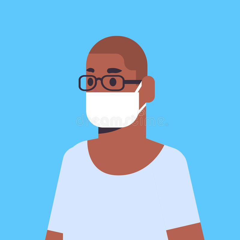 Man wearing face mask environmental industrial smog dust toxic air pollution and virus protection concept african. American male cartoon character portrait flat vector illustration