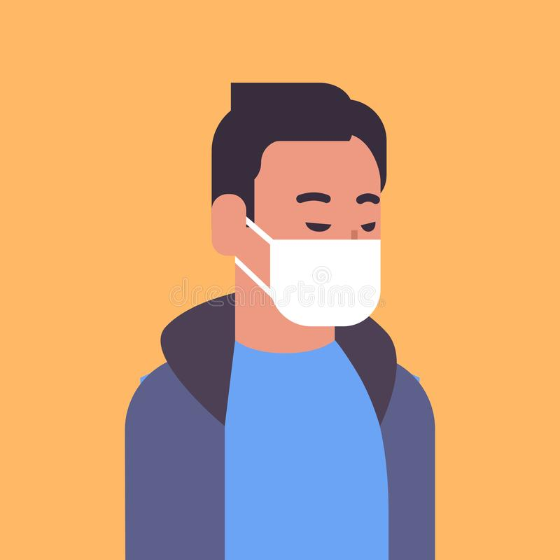 Man wearing face mask environmental industrial smog dust toxic air pollution and virus protection concept male cartoon. Character portrait flat vector vector illustration