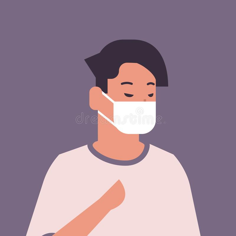 Man wearing face mask environmental industrial smog dust toxic air pollution and virus protection concept male cartoon. Character portrait flat vector royalty free illustration