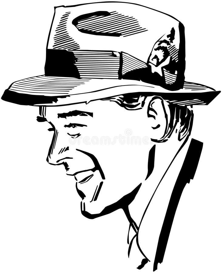 Man Wearing Fedora royalty free illustration