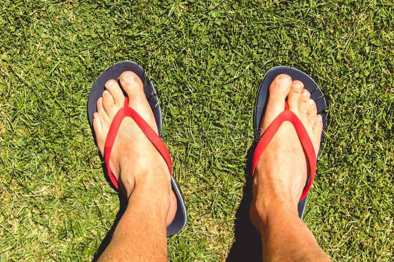 Man wearing flip flops on summer day with grass background. Man wearing flip flops on hot summer day with grass background stock photos