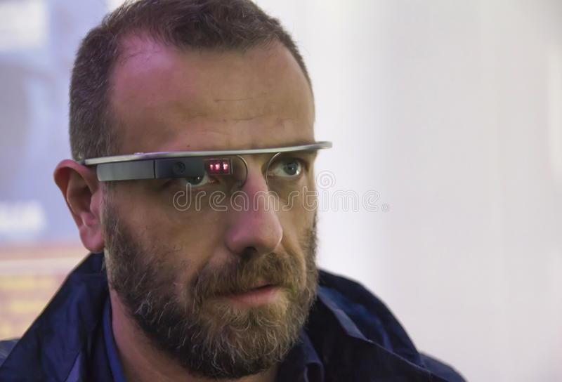 Man wearing google glass stock images