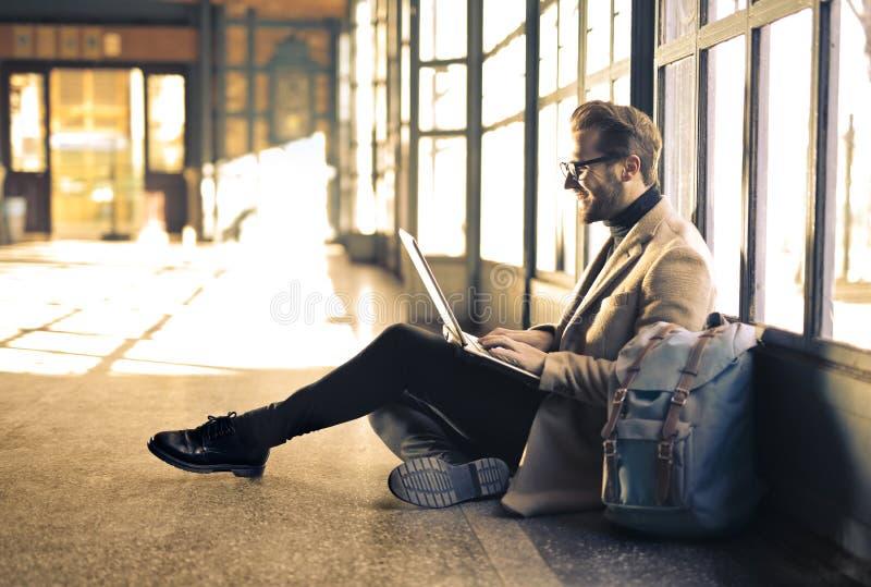 Man Wearing Gray Blazer stock images